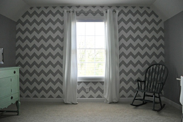 Chevron Stenciled Wall in craft room