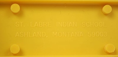 "St. Labre Indian School ""Northern Cheyenne Letter (or napkin) Holder"", yellow base"