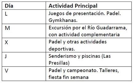 planning diario campus padel verano maspadel 2011