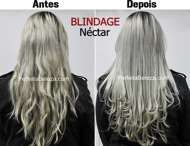 blindage néctar, antes e depois, cabelo platinado