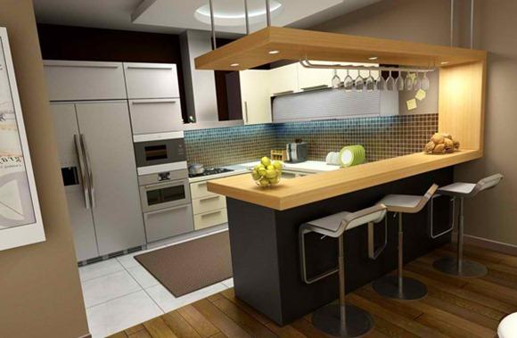 20 modelos de cocinas con bar multifuncionales idecorar - Barra de bar para cocina ...