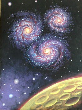 Galaxy trio painting - Trei galaxii - Pictura in tempera