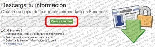 Copia de seguridad de Facebook - descarga tu información crear archivo