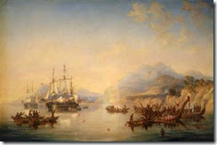 Erebus and the Terror in New Zealand, August 1841, National Maritim Museum (Featured)
