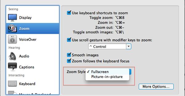 Fullscreen zooming or PinP