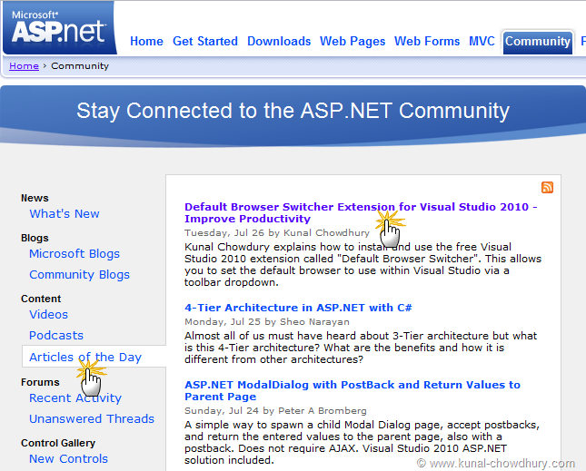 ASP.Net - Articles of the Day - Default Browser Switcher Extension