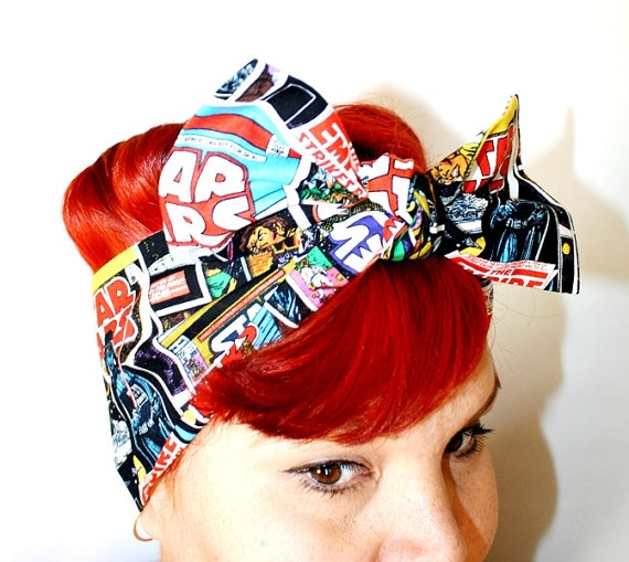 Star Wars Comic Book Vintage Head Scarf from OhHoneyHush on Etsy