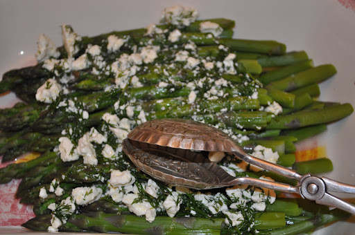 Asparagus with a feta and dill vinaigrette