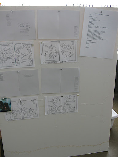 Here's our board with sketches, a list of our ideas, and a tentative layout.