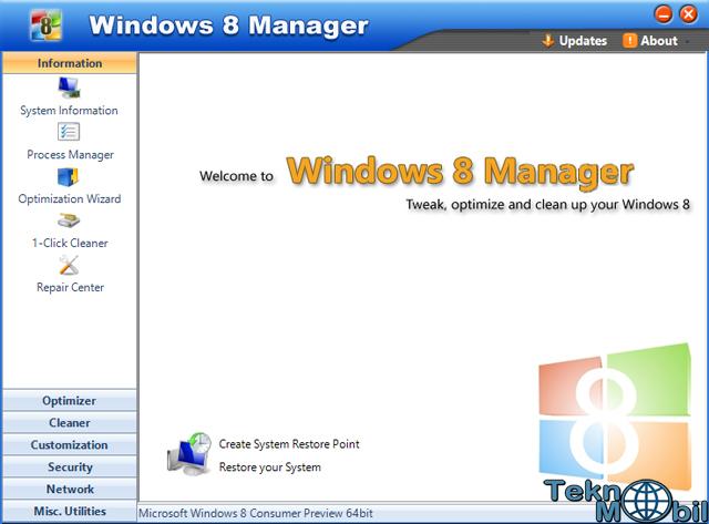 Windows 8 Manager full indir