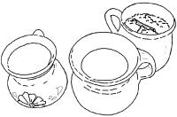 atoles de cacahuate, fresa y arroz con leche