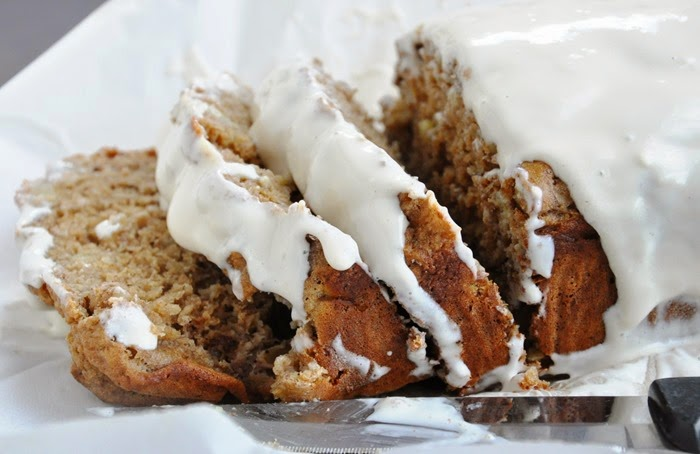 Spiced Rum Banana Nut Bread w.Cream Cheese Glaze (24)