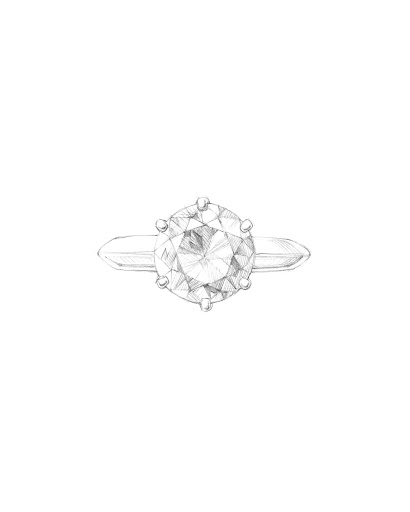 Featuring a simple but incredibly sophisticated six-prong solitaire, the setting was created to show off the brilliance of the stone it holds.