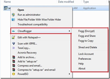 Cloudfogger Context menu options 