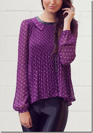 VM pleated purple top