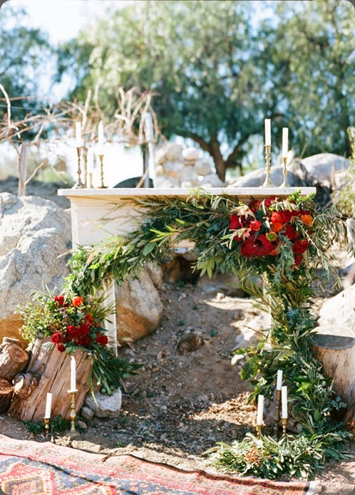 mantle rustic-red-wedding-ideas-2   Jen Wojcik Photography  and adrienne smith floral design