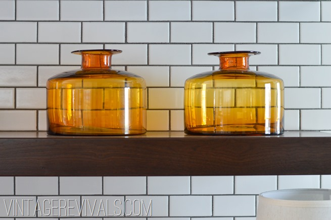 Amber Jars White Subway Tile
