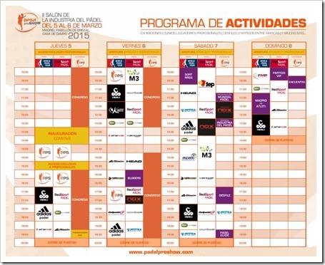 Programación Actividades del II Salón de la Industria del Pádel, 5-8 marzo 2015, Madrid.