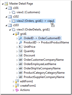 Dropping OrderID data field node on 'view2'.