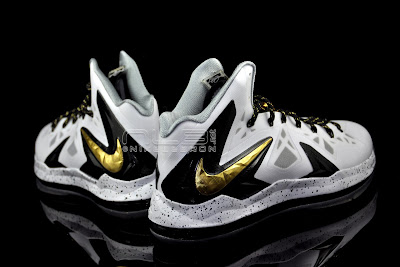 lebron10 ps elite white gold 45 web black The Showcase: Nike LeBron X P.S. Elite+ White & Gold