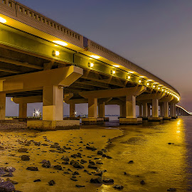 BIloxi Bay Bridge After Dark by Jim Howton - Landscapes Waterscapes ( biloxi, hdr, bay, long exposure, night, bridge )