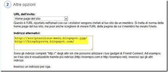 indirizzi alternativi google friend connect