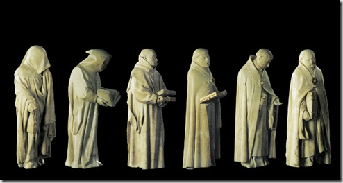 Mourners from the tomb of John the Fearless, Duke of Burgundy, by Jean de la Huerta and Antoine le Moiturier, 1443–1457