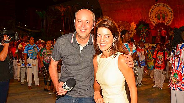 Alex Escobar e Mariana Gross, apresentadores dos desfiles da série A do carnaval carioca (Foto: Divulgação/Globo)