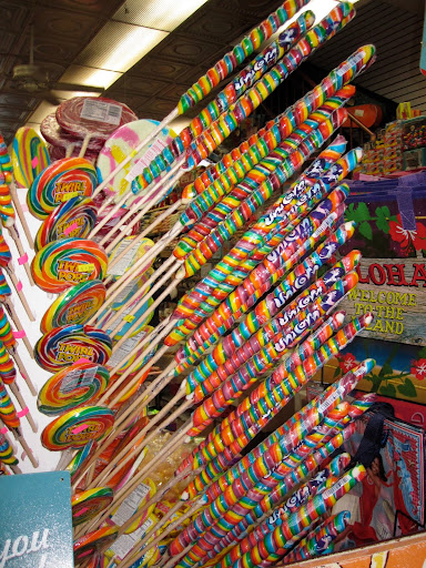 Unicorn lollypops were right next to the massive lollypop display.