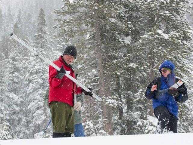 The California Department of Water Resources snow surveyors conduct winter's fourth snow survey at Phillips Station near Echo Summit on 1 April 2014. Photo: California Department of Water Resources