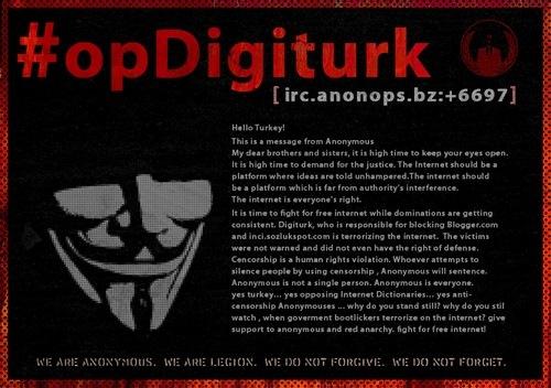 Εισβολή των Anonymous στην Τουρκία – Έθεσαν εκτός 3 υπουργεία και την Αστυνομία