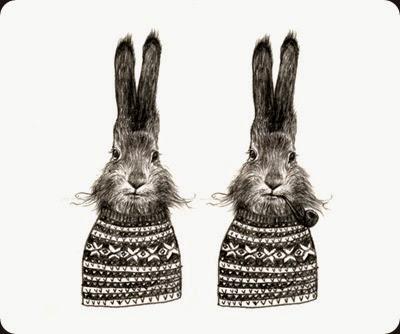 2 black hares