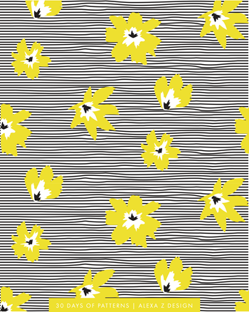 floral yellow stripes  - Alexa Z Design pattern