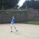 Cillian Egan returning a serve Sligo Junior West