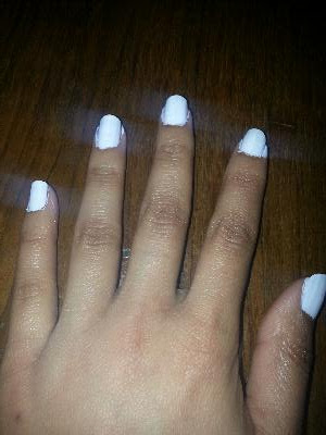 Step 1 Ly The Base Coat To All Your Nails Then White Polish Use 2 3 Coats If Necessary And Make Sure Are Completely Dry Before