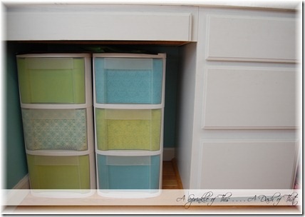 Plastic storage drawers after {A Sprinkle of This . . . . A Dash of That}