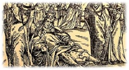 Grabado representando el parto de la papisa Juana.