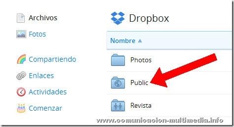 Ubicación de la carpeta pública (public) en la interfaz de  Dropbox.