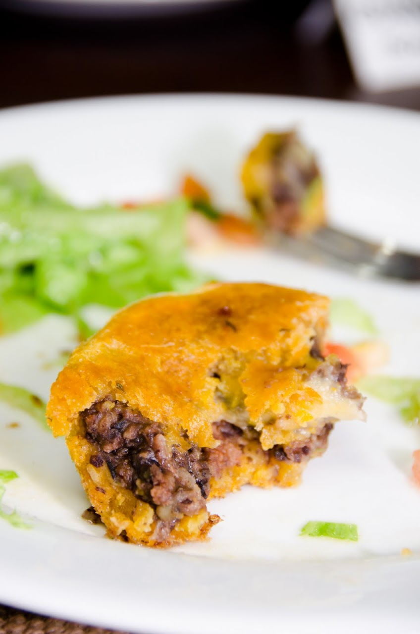 Pejibaye and cassava tart with black beans and mozzarellla