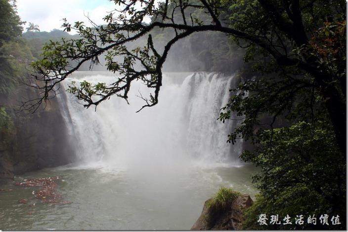 十分瀑布就是長這樣子,遠遠看還蠻有氣勢的,這是水量多的時候,如果你在網路上搜尋圖片,會發現有些圖片的水量少得可憐,這樣子就可以省去NT$80元的入場費了。