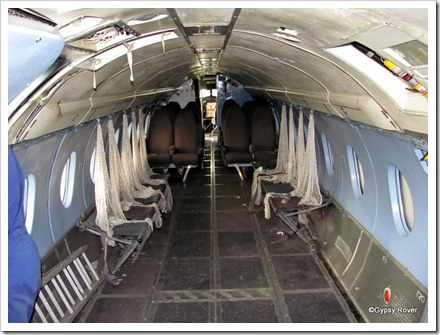 Looking forward inside a Mk1 Hawker Siddeley Andover. Note the rear facing passenger seats.