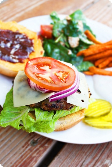 BBQ Swiss Turkey Burgers – THE perfect burger for summer grilling! Tasty, healthy turkey burgers with sweet-salty BBQ sauce and melty Swiss! | thecomfortofcooking.com