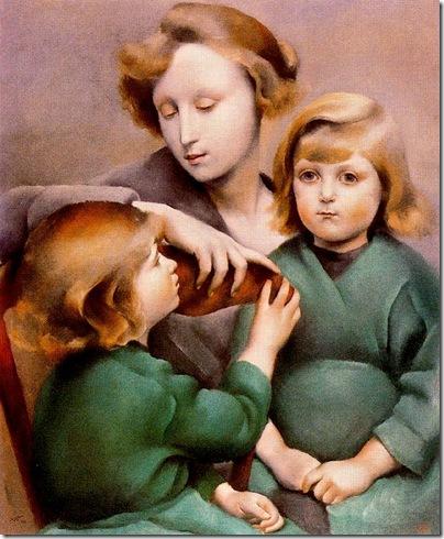 Josep de Togores i Llach -Mujer y sus hijos- 1923