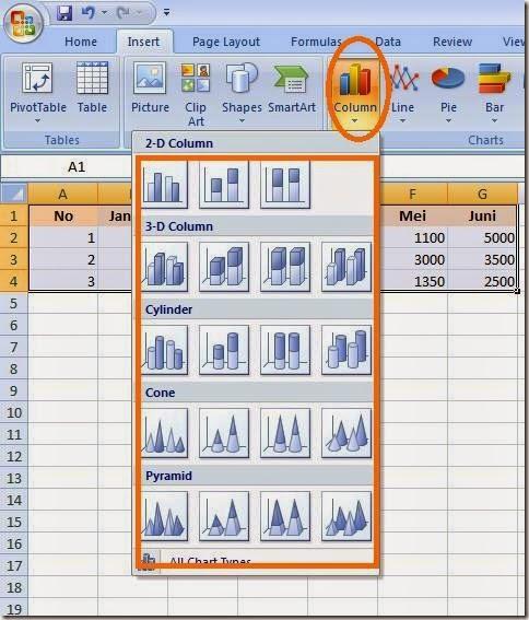 mendesain chart table grafik mecrosoft excel