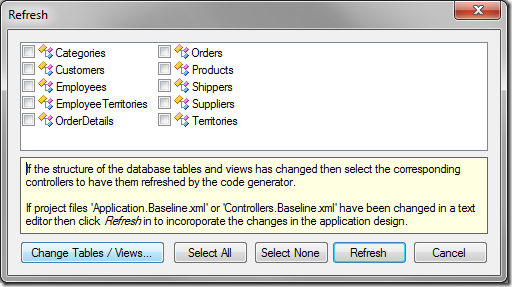 Refresh window with 'Change Tables / Views...' option highlighted.