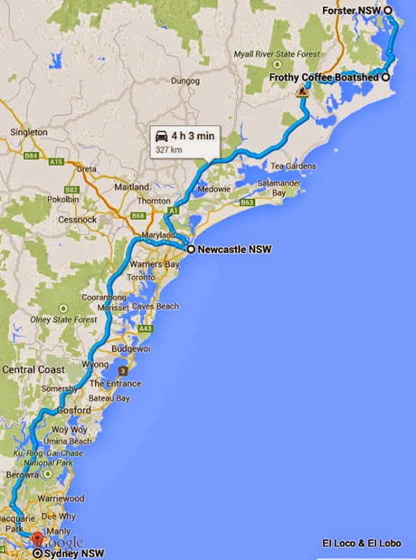map - Forster to Sydney via Newcastle 327km