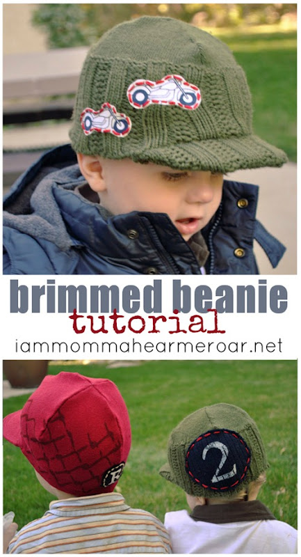 brimmed beanie hat tutorial by I am Momma Hear Me Roar