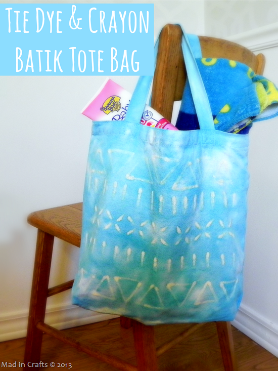 Tie Dye and Crayon Batik Tote bag