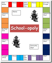 Use monopoly in centers with a free school opoly board