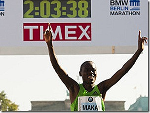 Patrick Makau winning the Berlin Marathon